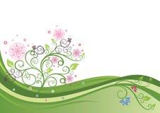 Flowering tree in a spring field stock illustration