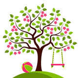 Flowering tree with swing and ball Stock Images