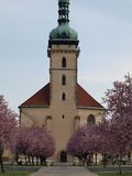 Flowering way to church. Northern Bohemia stock photos