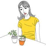 Flowerpot και κορίτσι Στοκ Εικόνες