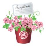 Flowerpot avec des roses illustration de vecteur