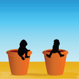 Flowerpot with baby vector illustration Royalty Free Stock Photo