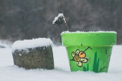 Flowerpot with bee drawing in winter. On a table, snow around stock image