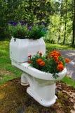 Flowerpot bowl of flowers in the garden Stock Images