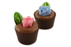 Flowerpot Chocolates. Delightful and colorful handmade flowerpot chocolates royalty free stock photography