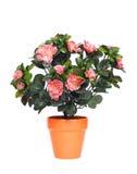 Flowerpot com flores artificiais Fotografia de Stock Royalty Free
