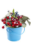 Flowerpot decoration with natural green plant and flowers and artificial mushrooms isolated on white Royalty Free Stock Photography