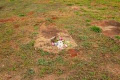 Flowerpot fallen on a tomb.