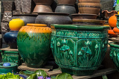 Flowerpot. The flowerpot made from baked clay in sunday market Royalty Free Stock Photos