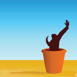Flowerpot with man vector illustration Royalty Free Stock Photography
