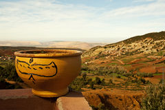 Flowerpot in moroccan mountains Atlas Royalty Free Stock Photo