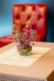 Flowerpot on outdoor table cafe Royalty Free Stock Image