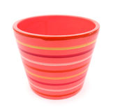 Flowerpot pink with stripes Royalty Free Stock Image