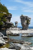 Flowerpot rock formations on Flowerpot Island. Image of both flowerpot rock formations on Flowerpot Island, Fathom Five National Marine Park, Ontario royalty free stock image