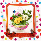 Flowerpot with roses Stock Photo