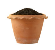 Flowerpot with soil Stock Images