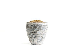 Flowerpot. With the soil on white background royalty free stock images