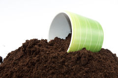 Flowerpot on the top of the pile of soil Stock Image