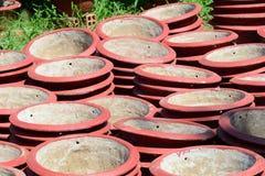 Flowerpots dla sprzedaży w Mekong delcie, południowy Wietnam Fotografia Royalty Free