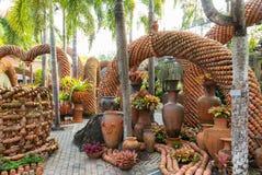 Flowerpots garden Stock Image