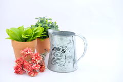 Flowerpots. And garden tools packshot on white background Stock Images