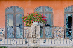Flowerpots and house plants on the balcony Royalty Free Stock Photos