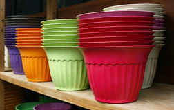 Flowerpots - Plastic flower pots Stock Photo