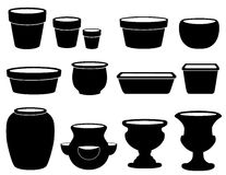 Flowerpots and Pottery. Silhouettes of clay flowerpots and pottery: small, medium and large clay pots, saucers, bulb pan, bonsai pan, azalea pot, round and Royalty Free Stock Photo