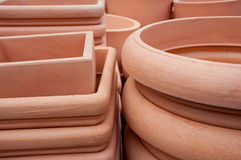 Flowerpots ready for sale Royalty Free Stock Image