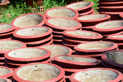 The flowerpots for sale in Mekong Delta, southern Vietnam Royalty Free Stock Photography