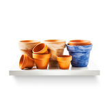 Flowerpots on shelf. Clay flower pots on shelf isolated on white background. Garden equipment. Group of objects with clipping path Royalty Free Stock Photo