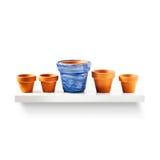 Flowerpots on shelf Stock Photo
