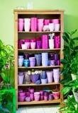 Flowerpots in a shelf in a market Stock Image