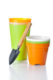 Flowerpots and shovel 2 Royalty Free Stock Images