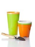 Flowerpots and shovel Stock Photography