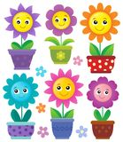 Flowerpots with smiling flowers set 1 Royalty Free Stock Photos