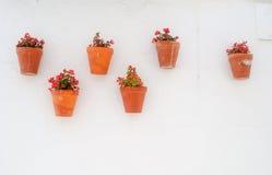 Flowerpots sur le mur espagnol Images stock