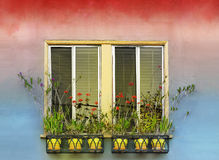 Flowerpots and window Stock Photo