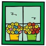 Flowerpots in window Royalty Free Stock Photos