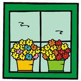 Flowerpots in window. Two flowerpots with colored flowers. Vector illustration Royalty Free Stock Photos