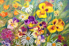 Flowers. Flower garden, oil painting on canvas, summer, sunny, picturesque Stock Photos