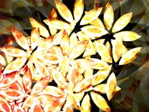 Flowers 12. Flowers made of yellow shining stones. Illustration made on computer Stock Illustration
