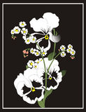 Flowers. Black-and-white flowers with addition of colour Royalty Free Stock Photography