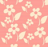 Flowers. On a pink striped background, an illustration Stock Photo