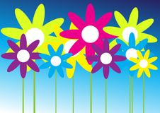Flowers. In Different Colors on Blue Gradient Background / Vector stock illustration