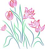 Flowers. Brush stroke line art work Royalty Free Stock Photo