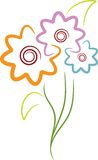 Flowers. Isolated line art flowers design Royalty Free Stock Photos