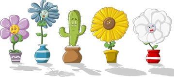 Flowers. Colorful cartoon flowers in vases Stock Image