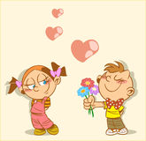 Flowers. Boy and girl on the picture. Boy gives a girl flowers. This is a declaration of love.An illustration is divided into layers.Additionally, a vector EPS Royalty Free Stock Photography