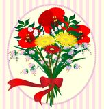 Flowers. On an abstract background large bouquet colored flowers and herbs, decoraded large red bow Stock Photography